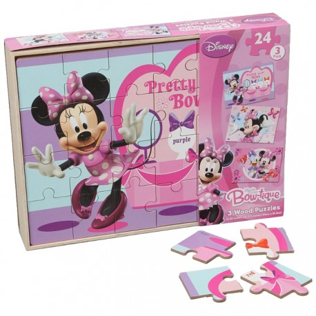 PACK 3 PUZZLES DE MADERA MINNIE MOUSE