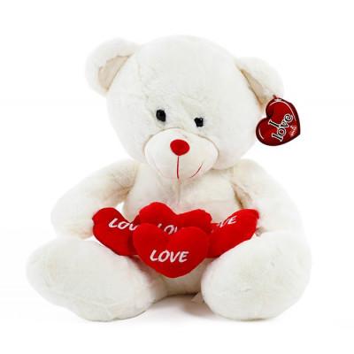 Oso 4 corazones 42 cm blanco