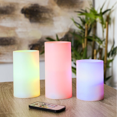 SET 3 VELAS LED COLORES CON...