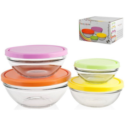 SET 4 RECIPIENTES PASABAHCE FRIGO COLORS