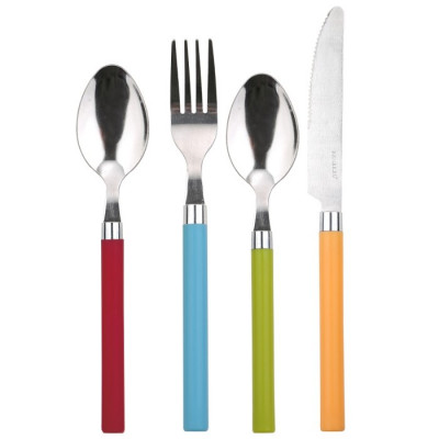 CUBERTERIA 24 PIEZAS INOX HAPPIE COLORS