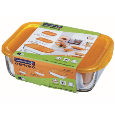 SET 3 RECIPIENTES CON TAPA NARANJA KEEP´N BOX LUMINARC