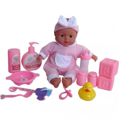BEBÉ BAÑITOS CON ACCESORIOS - ROSA de la categoría Muñecas Bebé