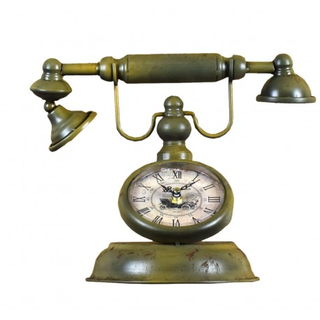 RELOJ CON FORMA DE TELÉFONO DORADO