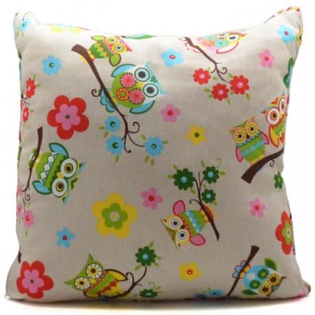 COJÍN RELLENO LONETA 60x60CM BÚHOS - MOD.1 de la categoría Decoración Textil