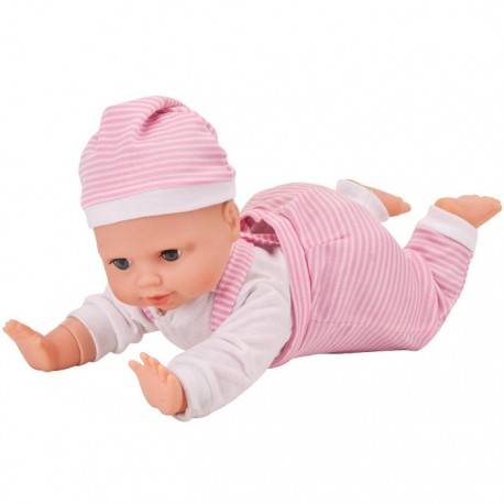 BEBÉ GATEADOR CON SONIDOS 40CM - ROPITA RAYAS de la categoría Muñecas Bebé